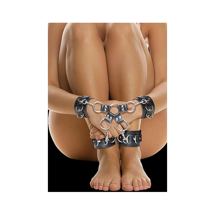 Leather Hand And Legcuffs Black