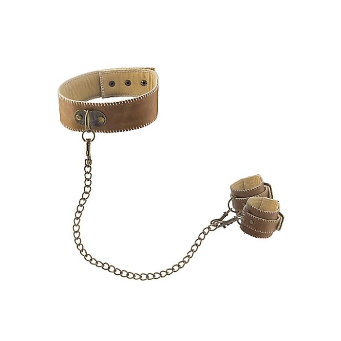 Collar With Handcuffs – Brown
