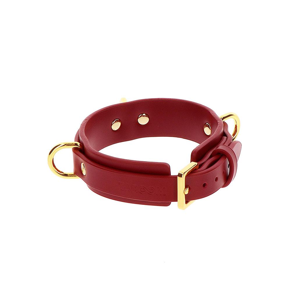 Collare Pelle Vegan Rosso Con Anelli